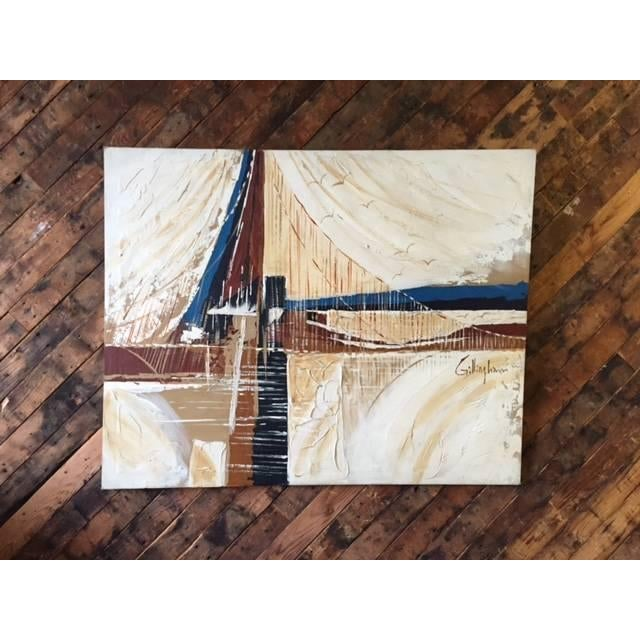 Image of Vintage 1970's Bridge and Seagulls Painting