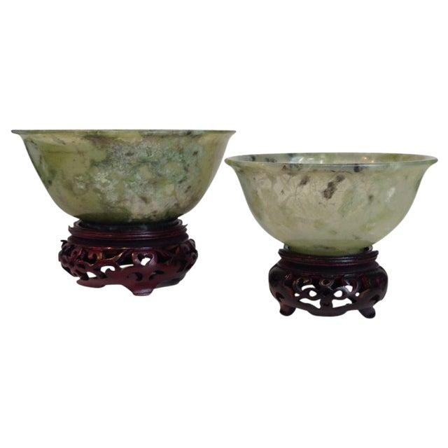 Vintage Jade Bowls - Pair - Image 1 of 4