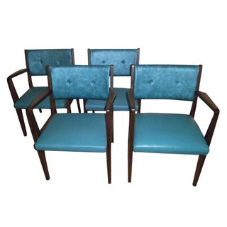 Jens Risom Walnut Armchairs - Set of 4