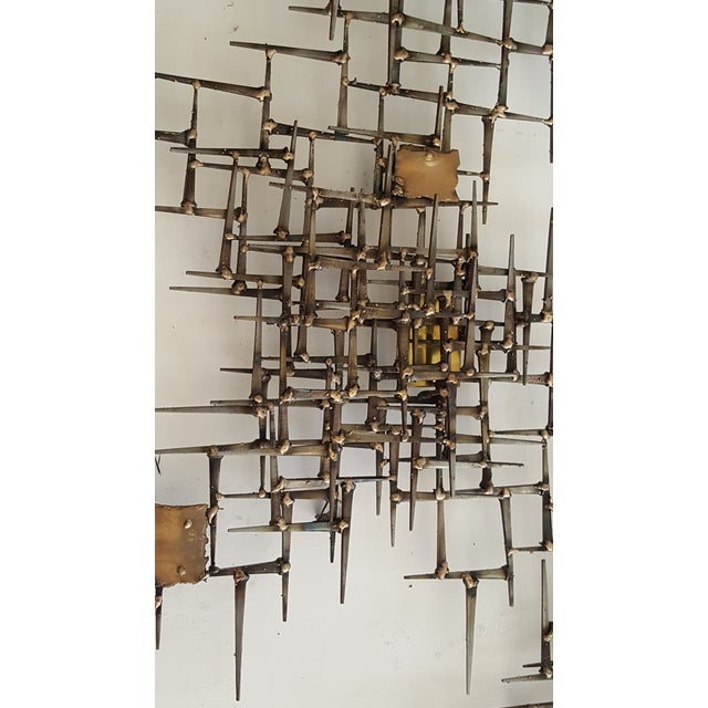 Abstract Brutalist Metal Wall Sculpture of Bronze and Brass - Image 4 of 8