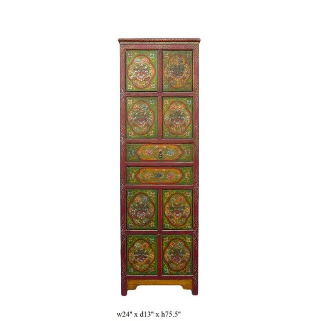 Chinese Tibetan Green Red Dragon Slim Cabinet - Image 6 of 6