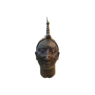 Large Old Benin Bronze Oba Head