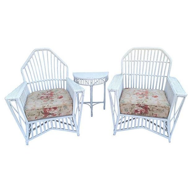 Image of 1930s Stick Wicker Table with 2 Chairs