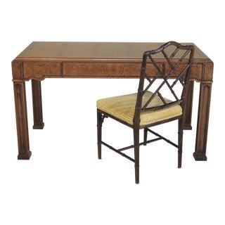 Thomasville Walnut 1-Drawer Writing Desk & Chair - A Pair