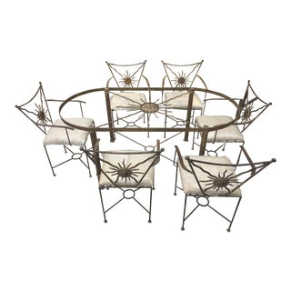 Wrought Iron & Cream Upholstered Dining Set