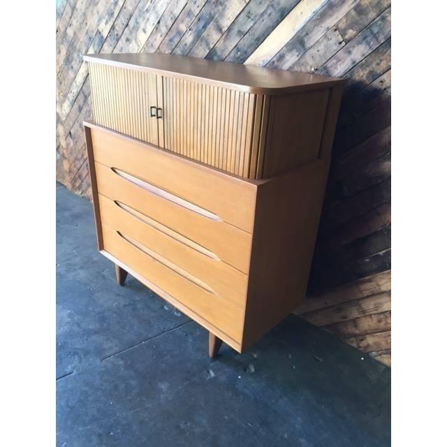Brown Saltman Mid-Century Tambour Highboy Dresser - Image 4 of 7