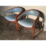Image of Mid-Century Blue Vinyl Lounge Chairs - A Pair
