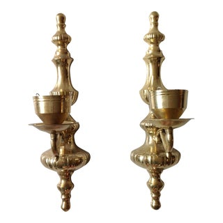 Brass Wall Sconce Candle Holders - Pair
