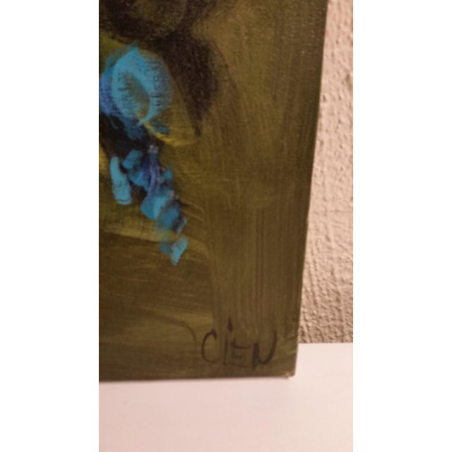 Blue Flowers in a Vase Painting - Image 4 of 5