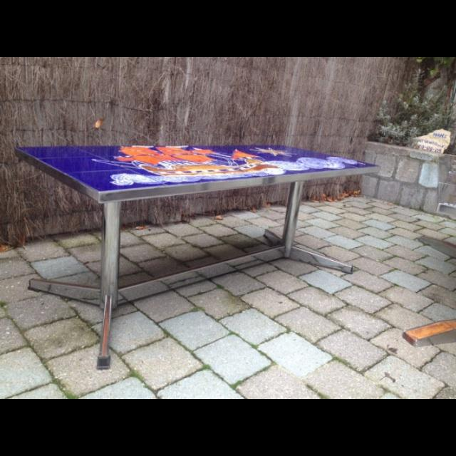 Image of Vintage Belgian Chrome Tiled Coffee Table
