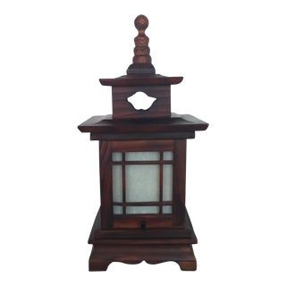 Antique Carved Wood Asian Chinoiserie Pagoda Lantern Light Lamp