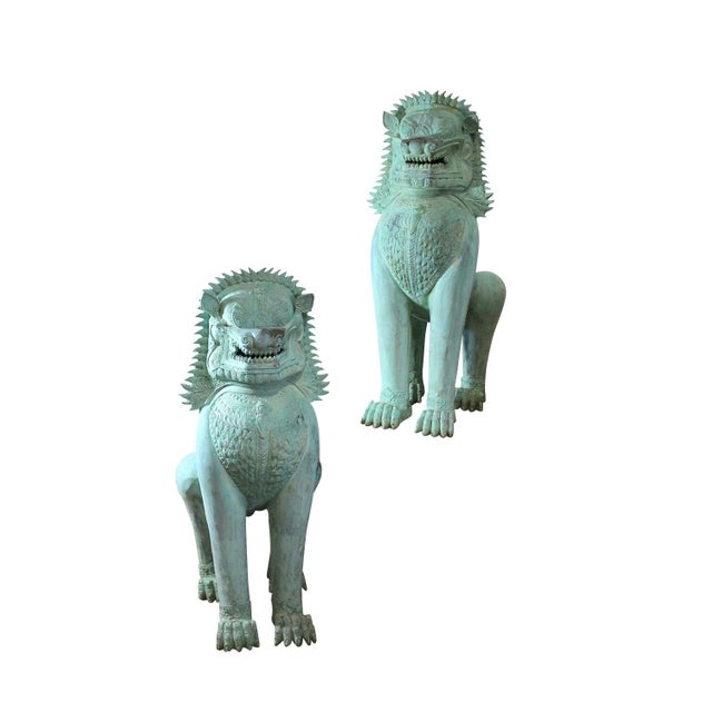 Image of 1900s Foo Dog Statues, Life Size Guards