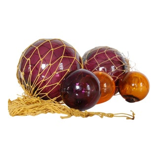 Vintage Amber & Purple Glass Fishing Floats - Set of 5