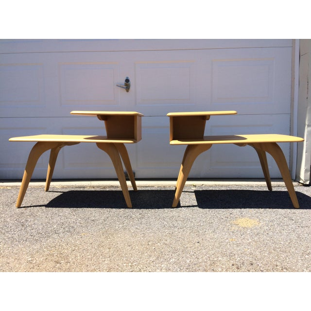 Heywood Wakefield Wheat Finished End Tables- A Pair - Image 2 of 8