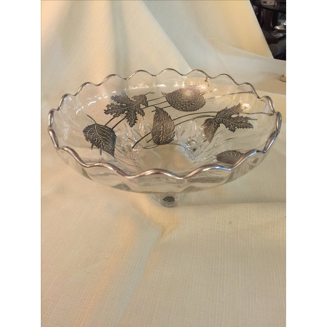 Sterling Silver Overlay Crystal Bowl - Image 2 of 3