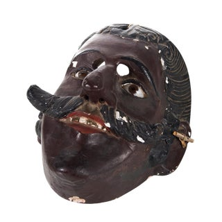 19th C. Mexican Hand Carved Wooden Mask
