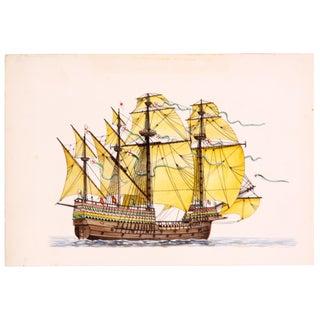 Henry Grace à Dieu Ship Ink Drawing