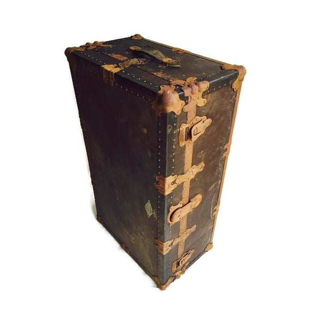 """Antique Steamer Trunk Pirate Chest 35"""" - Image 4 of 7"""