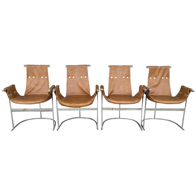 Image of 1970's Chrome and Faux Leather Chairs- Set of Four