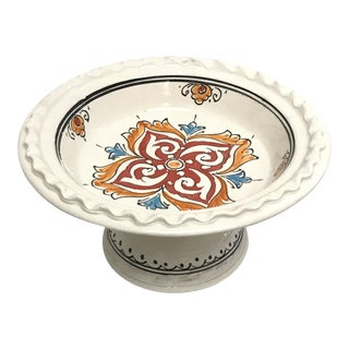 Moroccan Small Handpainted Ceramic Coupe Plate