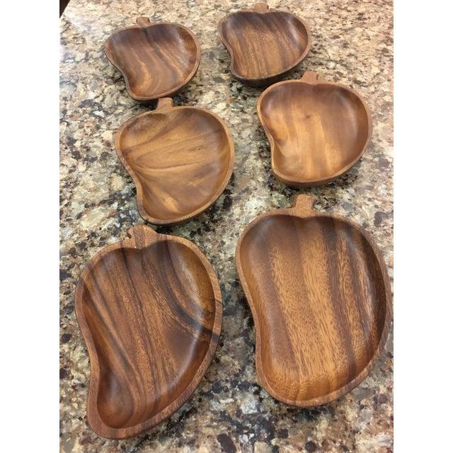 Mid-Century Monkey Pod Leaf Bowls- Set of 6 - Image 3 of 6