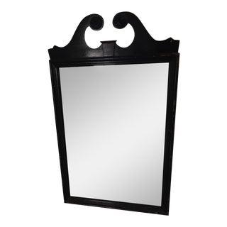 Carved Black Wood Mirror
