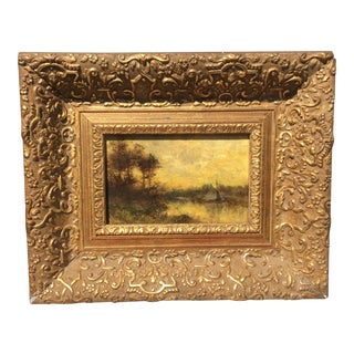 James Crawford Thom Landscape Oil on Board Painting