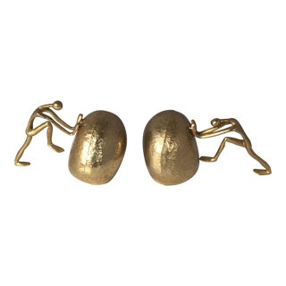 Mid-Century Brass Sisyphus Bookends - a Pair