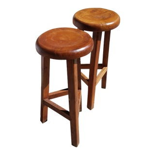 Rustic Solid Wood Barstools - A Pair