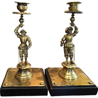 Antique Italian Bronze Figural Candlesticks - Pair