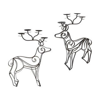 Bronze Deer Mantel Candelabras - Pair
