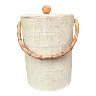 Mid-Century Modern Boho Tiki Ice Bucket With Bamboo Handle