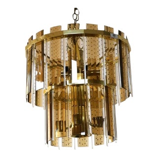 Mid Century Modern Smoked Glass Hanging Tiered Chandelier
