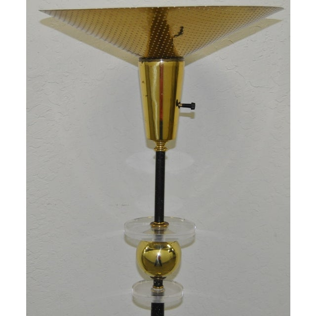 Vintage Speckled Iron Lucite & Brass Floor Lamp - Image 3 of 4