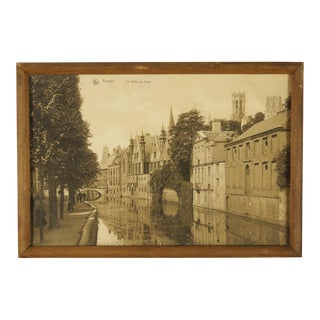 19th Century Antique Framed Sepia Photograph of Bruges