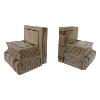 Maitland Smith Tessellate Stone Bookend Box - Pair