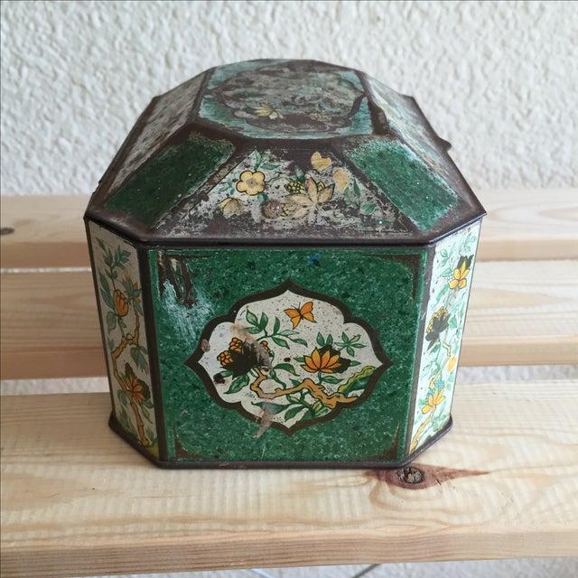 Chinoiserie Flowers English Metal Box - Image 3 of 7