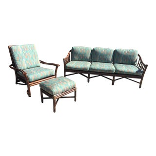 Vintage McGuire Bamboo Sofa, Chair & Ottoman
