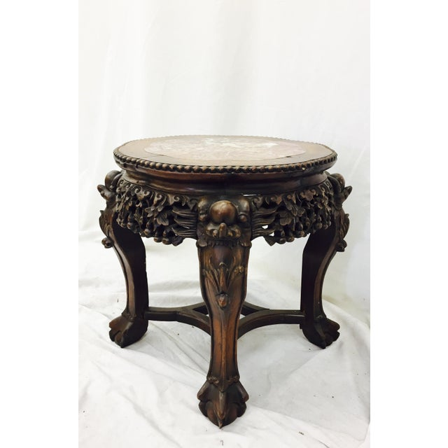 Chinese Carved Rosewood & Marble Table - Image 6 of 11