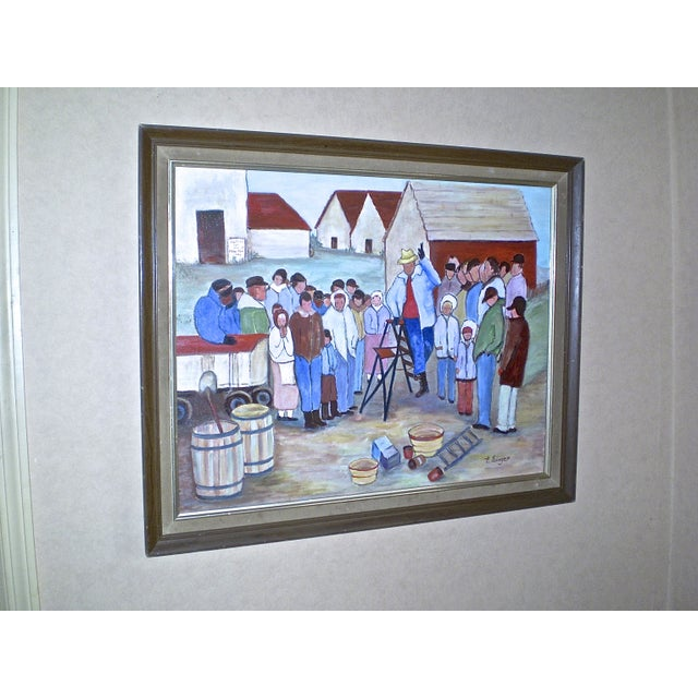 """Image of """"The Farm Wake,"""" Painting by Evelyn Singer"""