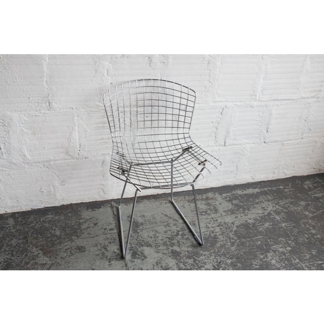 Image of Knoll Bertoia Black Padded Wire Side Chair