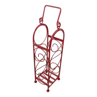Mid-Century Modern Red Brass Wine Bottle Rack Bar Cart