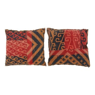 Double-Sided Turkish Kilim Pillows - A Pair