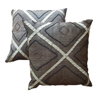 African Kuba Cloth Pillows- A Pair