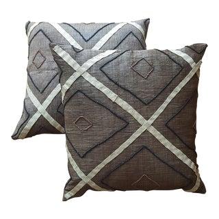 African Kuba Cloth Pillows- A Pair