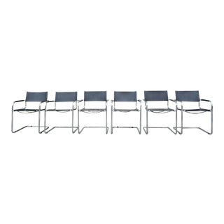 Vintage Mart Stam Cantilever Leather Arm Chairs - Set of 6