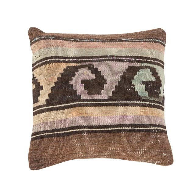 Image of Vintage Turkish Brown Kilim Pillow