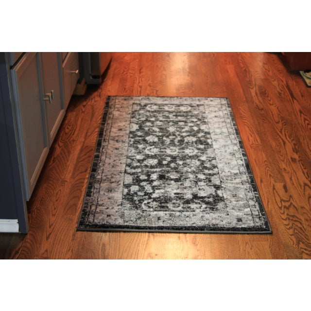 "Distressed Vintage Gray Rug - 2'8"" x 5' - Image 3 of 7"