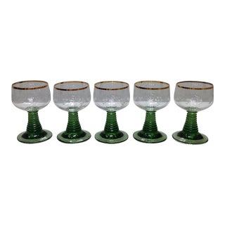 Vintage Green Stem Crystal Wine Glasses - Set of 5