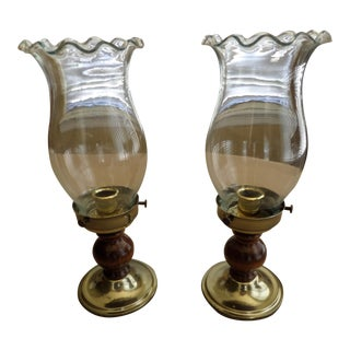 Ruffled Clear Glass Chimney & Wood and Brass Base Hurricane Lamps - A Pair